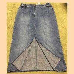 VINTAGE Liz Claiborne Boho Maxi Denim Skirt